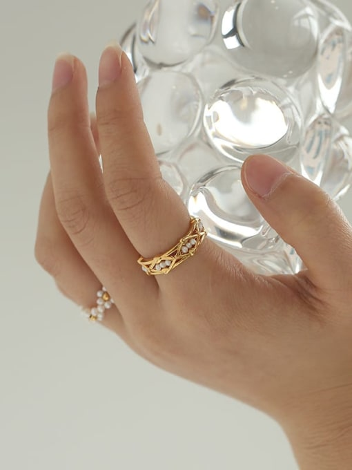 Five Color Brass Freshwater Pearl Geometric Hip Hop Band Ring 1