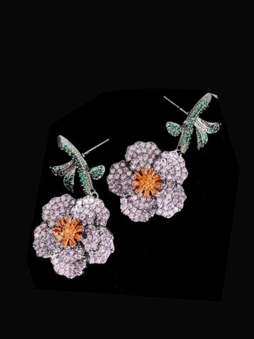 blue Brass Cubic Zirconia Flower Vintage Stud Earring