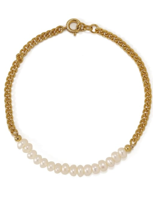 ACCA Brass Imitation Pearl Geometric Minimalist Link Bracelet 3