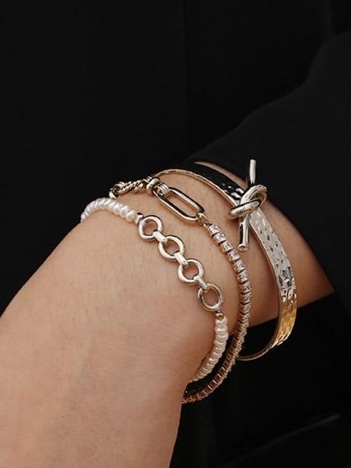 ACCA Brass Cubic Zirconia Geometric Vintage Bracelet 1