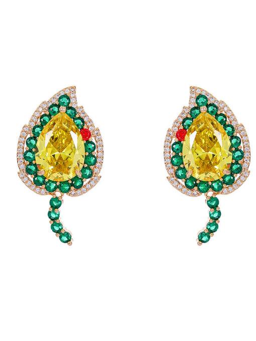 Green and yellow love Brass Cubic Zirconia Heart Luxury Stud Earring