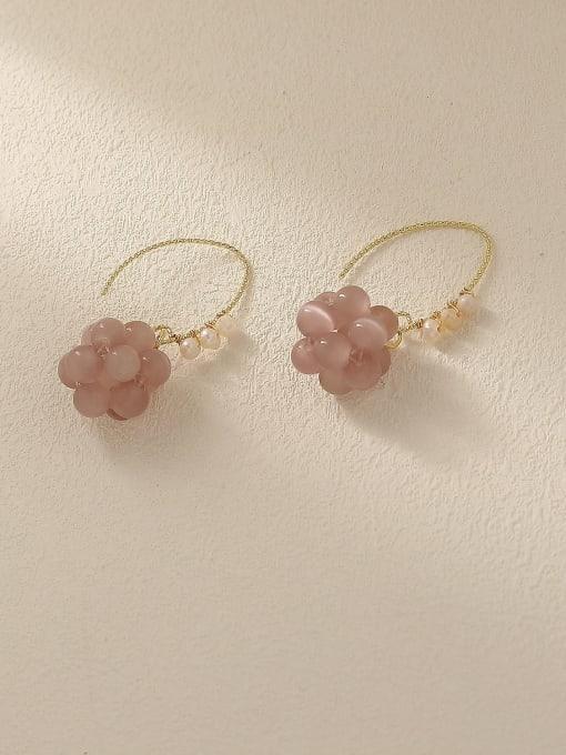 14k Gold Brass Bead Flower Cute Hook Earring