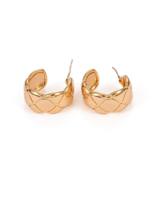 Five Color Brass Smooth Geometric Hip Hop Stud Earring 2