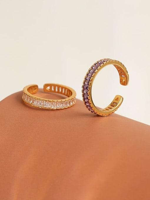 Five Color Brass Cubic Zirconia Geometric Minimalist Band Ring 2