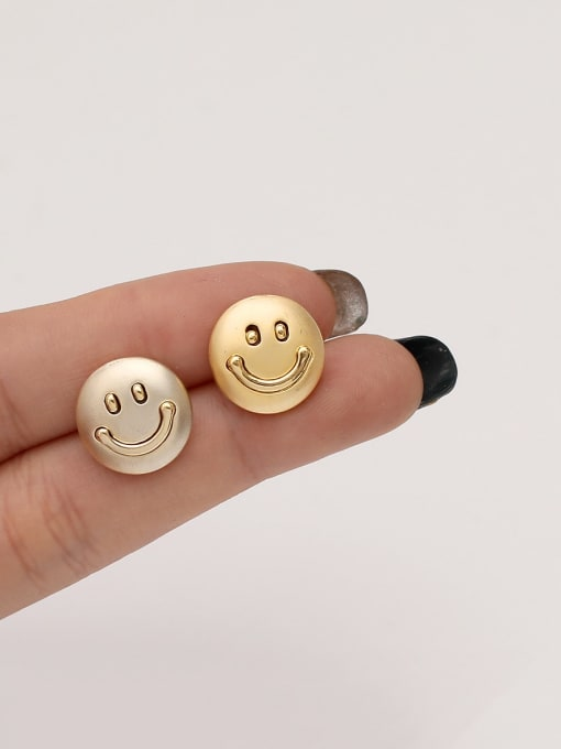 HYACINTH Brass Smiley Minimalist Stud Earring 1