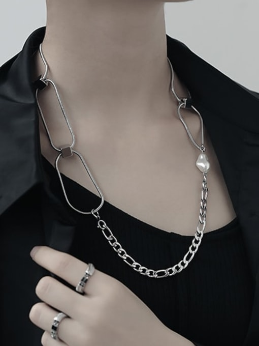 TINGS Brass Hollow Geometric  Chain Vintage Necklace 4