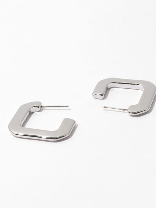 Square Earrings Brass Smooth Geometric Minimalist Stud Earring