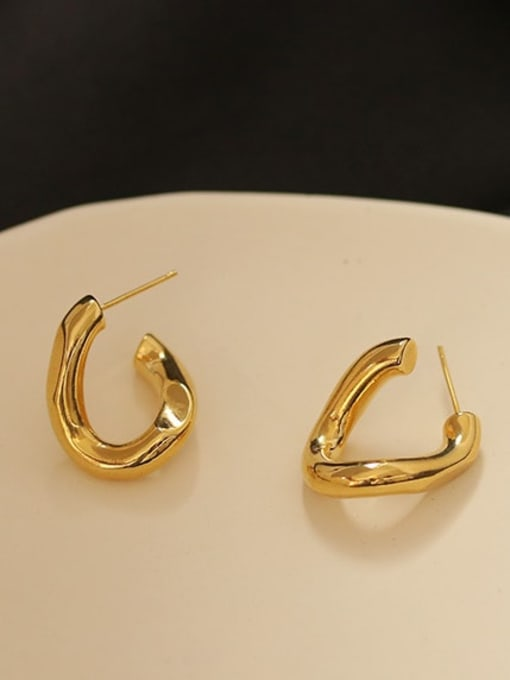 ACCA Brass Heart Minimalist Simple twisted lines Stud Earring 3