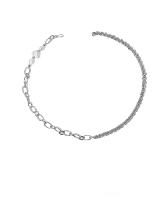 Pearl Necklace Brass Asymmetry Irregular Minimalist Necklace