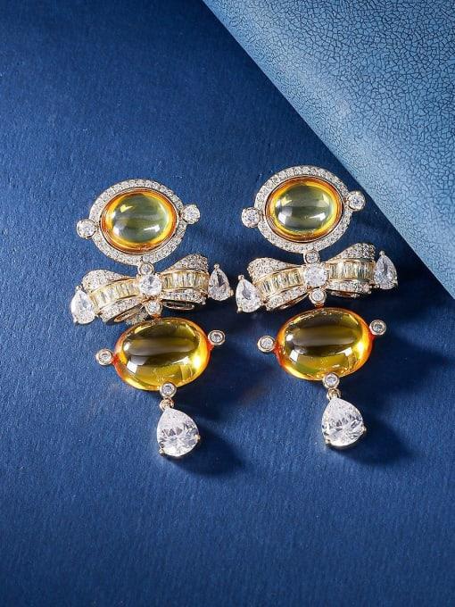 OUOU Brass Cubic Zirconia Irregular Luxury Drop Earring
