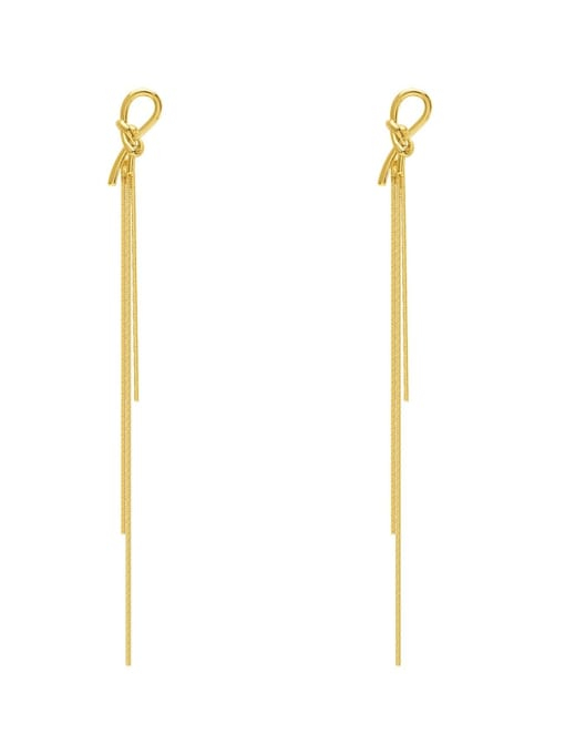 HYACINTH Brass Tassel Minimalist Threader Earring 0