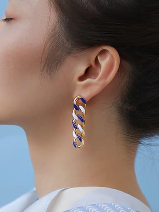 Five Color Brass Enamel Geometric Hip Hop Drop Earring 1