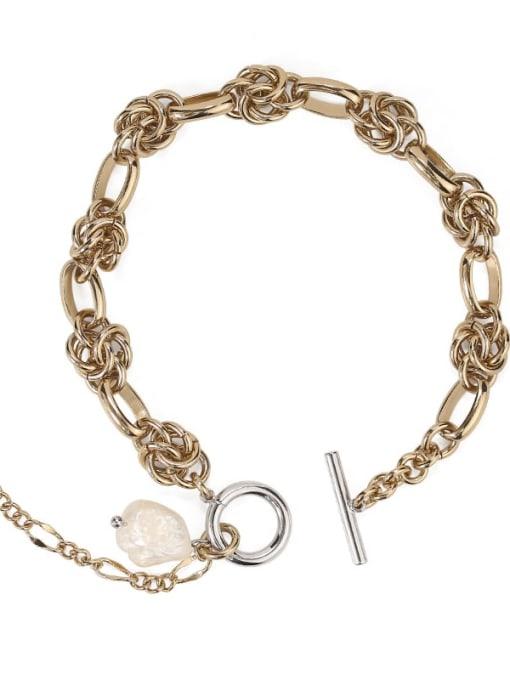 Coffee gold Brass Freshwater Pearl Geometric Vintage Bracelet