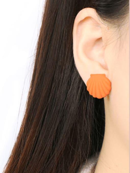 Five Color Alloy Enamel Geometric Shell Cute Stud Earring 2