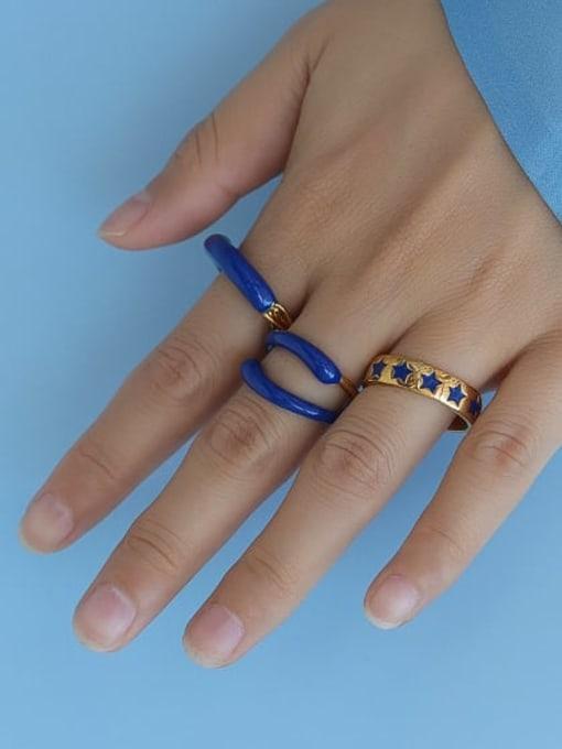 Five Color Brass Enamel Star Minimalist Band Ring 0