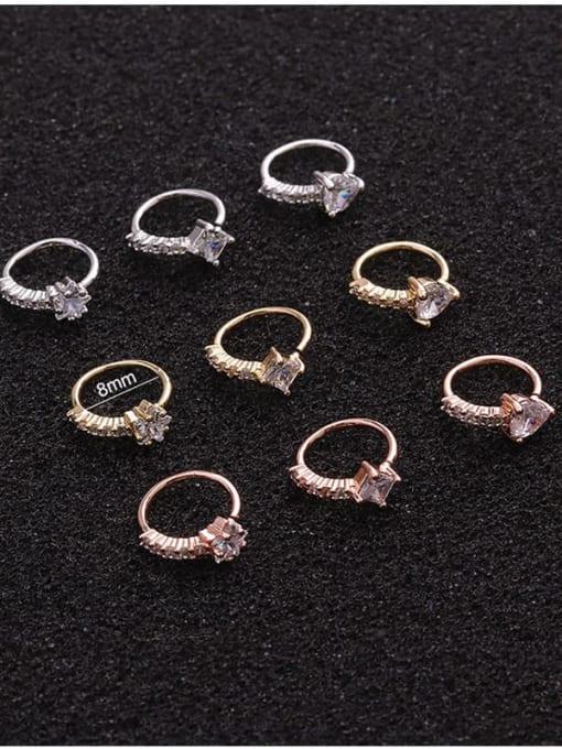 HISON Brass Cubic Zirconia Heart Cute Huggie Earring 4