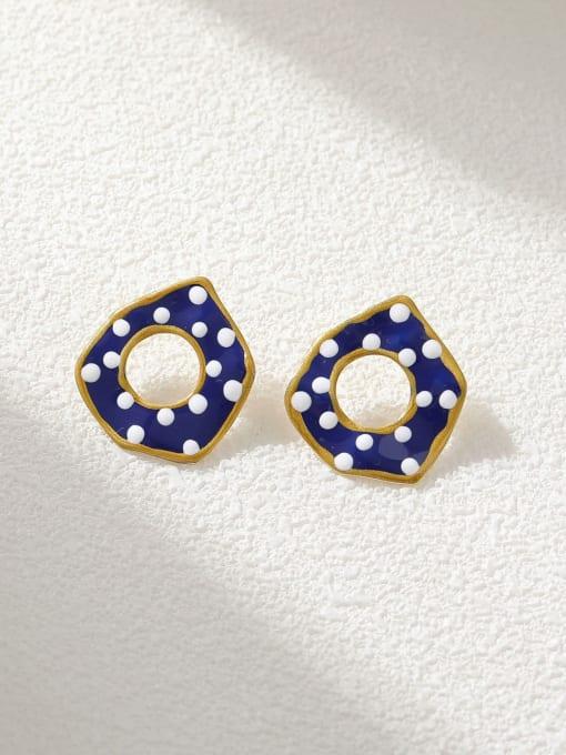 HYACINTH Brass Enamel Geometric Minimalist Stud Earring