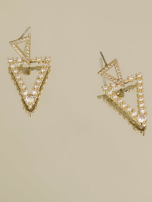 14K real gold Brass Cubic Zirconia Geometric Vintage Drop Earring