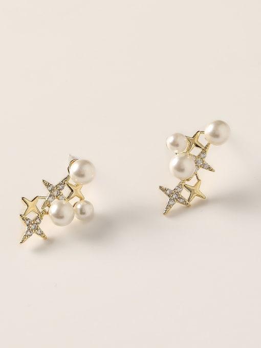14k Gold Brass Cubic Zirconia Star Dainty Stud Earring
