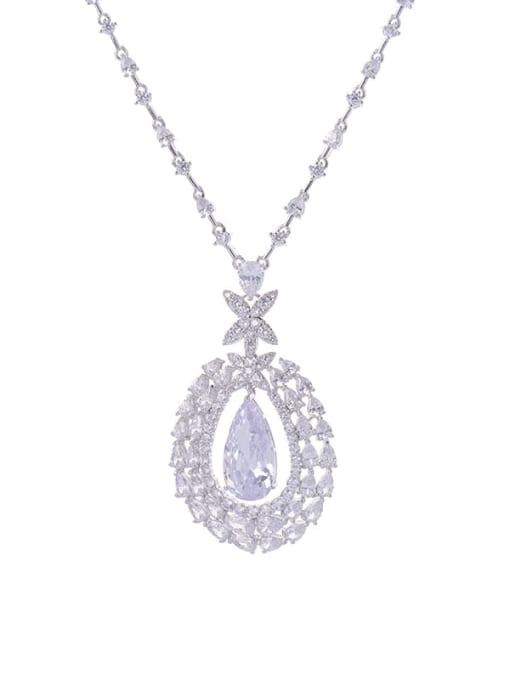 Platinum Brass Cubic Zirconia Water Drop Statement Necklace