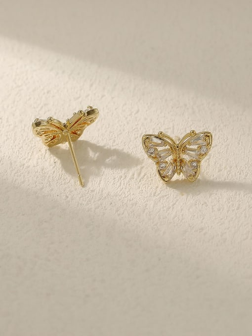HYACINTH Brass Cubic Zirconia Butterfly Vintage Stud Earring 3