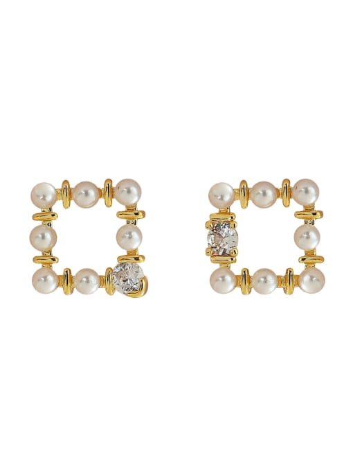 HYACINTH Brass Imitation Pearl Geometric Vintage Clip Earring