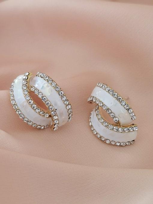 HYACINTH Brass Rhinestone Enamel Geometric Minimalist Stud Earring 2