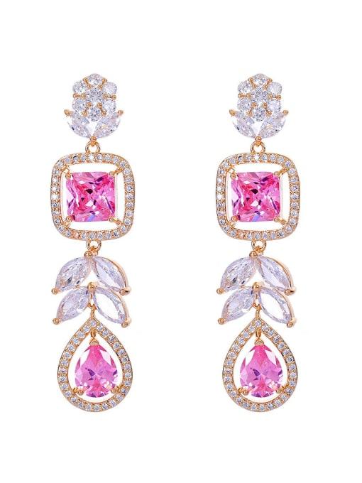 Pink Brass Cubic Zirconia Heart Luxury Drop Earring