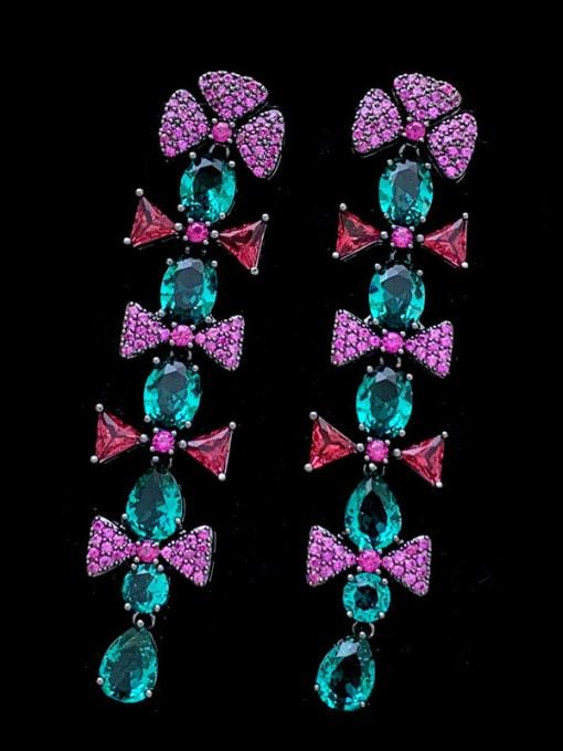 SUUTO Brass Cubic Zirconia Flower Vintage Drop Earring 1