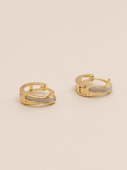 14k Gold Brass Cubic Zirconia Geometric Minimalist Huggie Earring