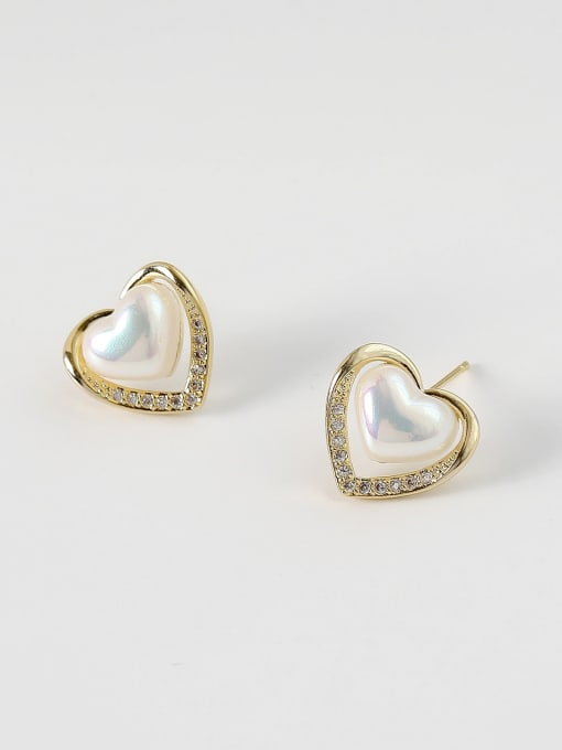 HYACINTH Brass Imitation Pearl Heart Minimalist Stud Earring 2