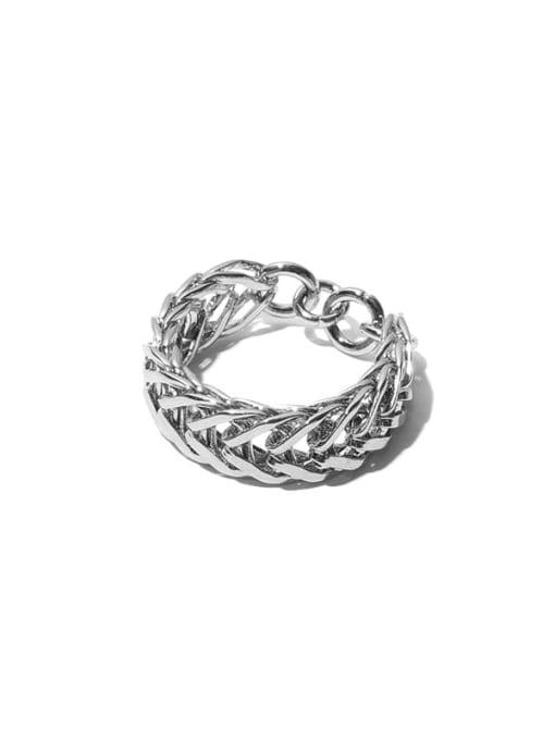 TINGS Titanium Steel Geometric Vintage Stackable Ring 3