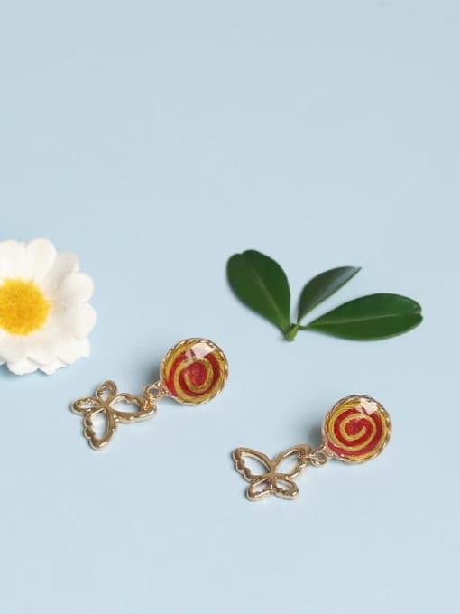 Five Color Alloy Enamel Butterfly Cute Stud Earring 0