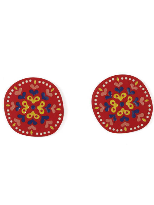 Five Color Alloy Enamel Heart Cute Round Stud Earring 2