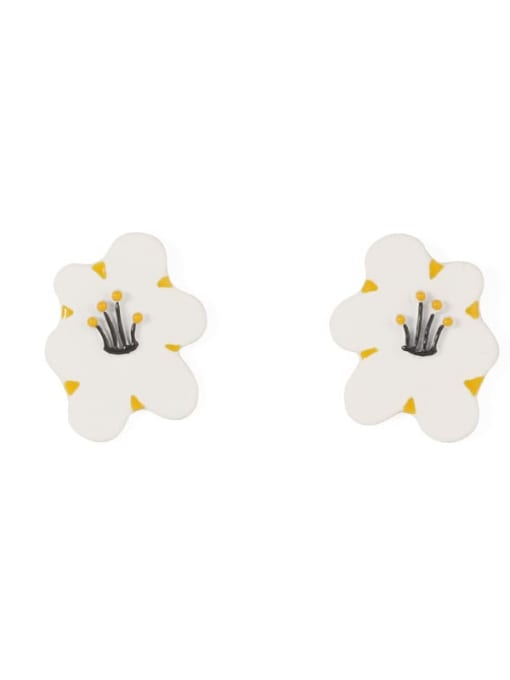Five Color Alloy Enamel Flower Minimalist Stud Earring