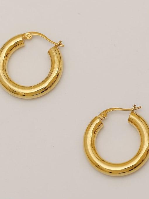 HYACINTH Brass  Smooth Geometric Vintage Hoop Earring 1