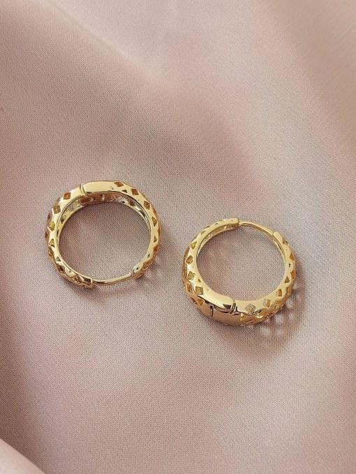 HYACINTH Brass Hollow Geometric Vintage Huggie Earring