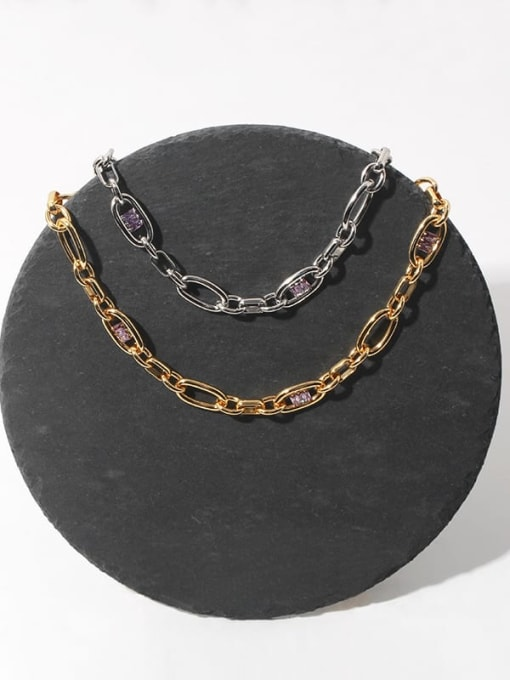TINGS Brass Cubic Zirconia Geometric Hip Hop Necklace