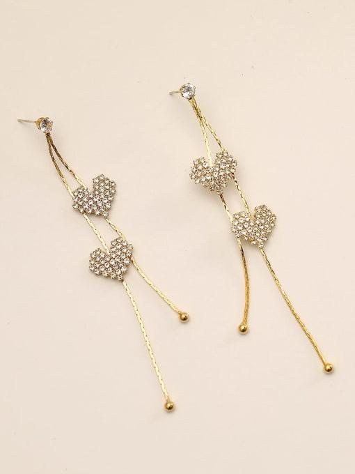 14k Gold Brass Rhinestone Tassel Bohemia Threader Earring