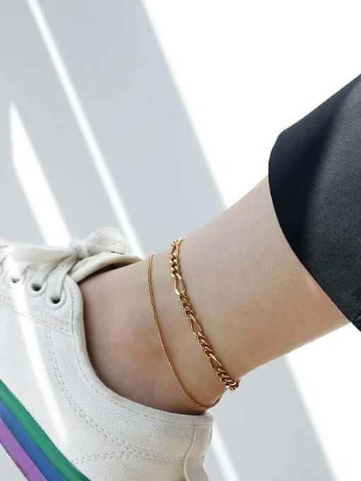 ACCA Brass Hollow  Geometric Chain Vintage  Anklet 1