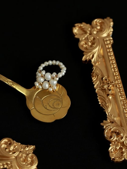 Five Color Brass Imitation Pearl Geometric Minimalist Band Ring 2