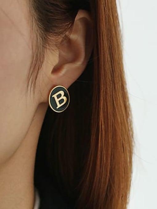 ACCA Brass Enamel Letter Cute Stud Earring 3