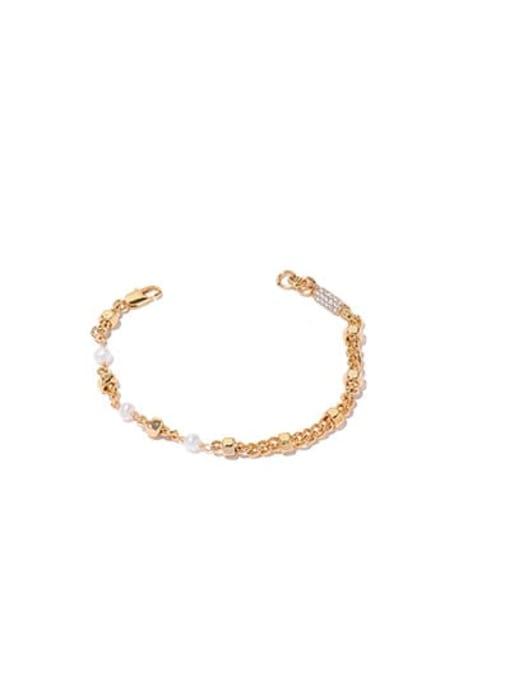 Gold Bracelet Brass Imitation Pearl Geometric Hip Hop Necklace