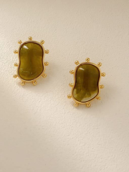 HYACINTH Brass Resin Geometric Vintage Stud Earring