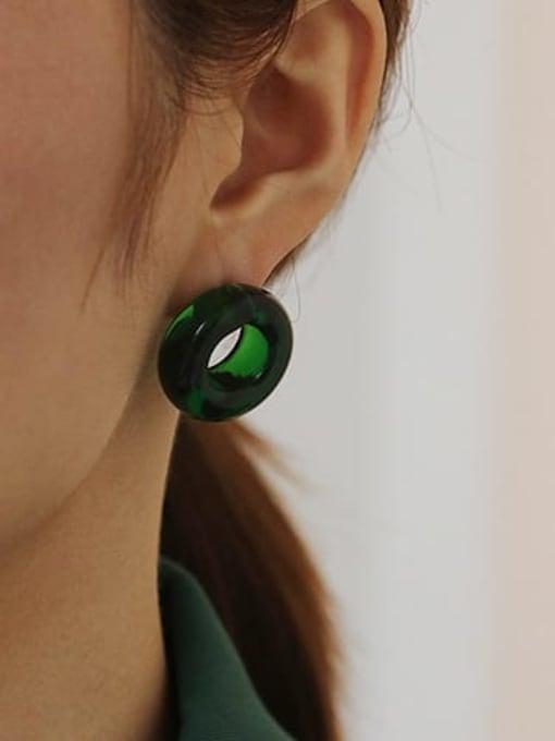 ACCA Coloured Glaze Round Vintage Stud Earring( Single) 1