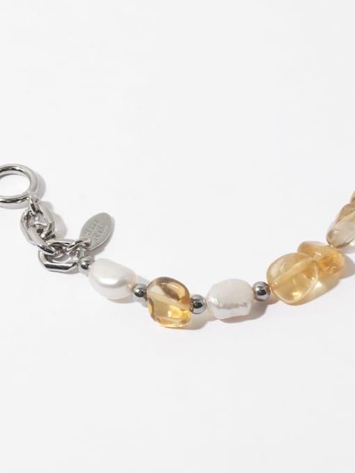 TINGS Brass Freshwater Pearl Geometric Hip Hop Beaded Bracelet 3
