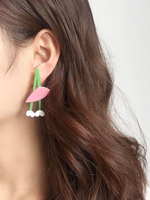 Five Color Alloy Acrylic Leaf Cute Stud Earring 2