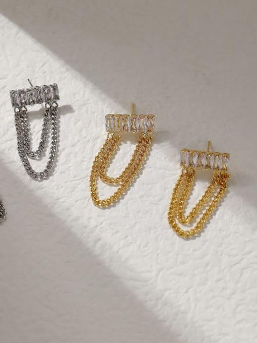HYACINTH Brass Cubic Zirconia Tassel Vintage Threader Trend Korean Fashion Earring 2