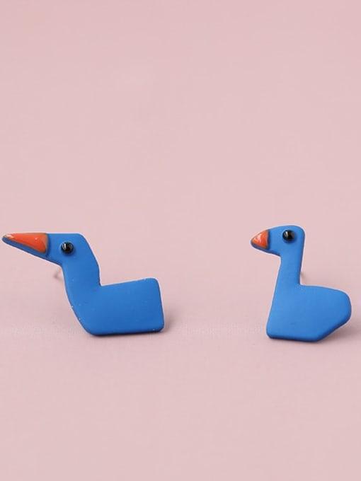 Five Color Alloy Enamel  Cute  Blue asymmetric cartoon cute little duck  Stud Earring 4
