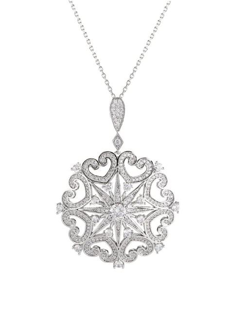 YILLIN Brass Cubic Zirconia Flower Dainty Necklace
